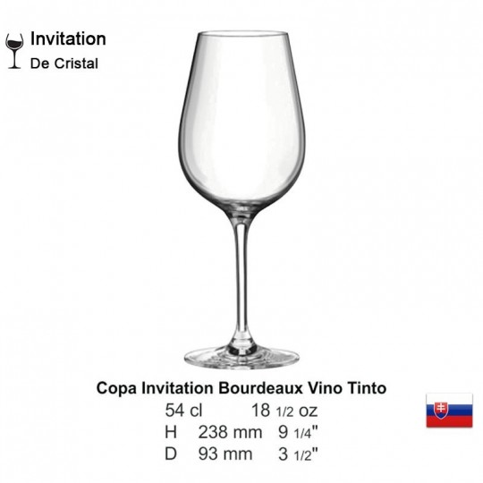 Copa Invitation Bourdeaux Vino Tinto 18 1/2 oz